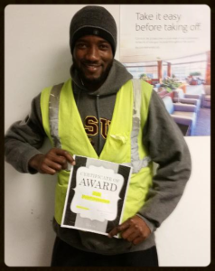 BOS - During a security search, Peterson Louis found a valuable ring that had been left on the aircraft by a passenger. Peterson gave the ring to his lead which was then turned into US Airways. Thank you Peterson demonstrating the integrity of our operation and our employees!!!