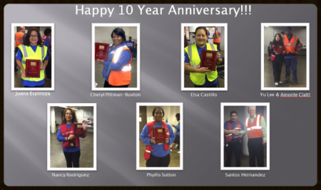 CLT - Congratulations to our 10 year anniversary employees!